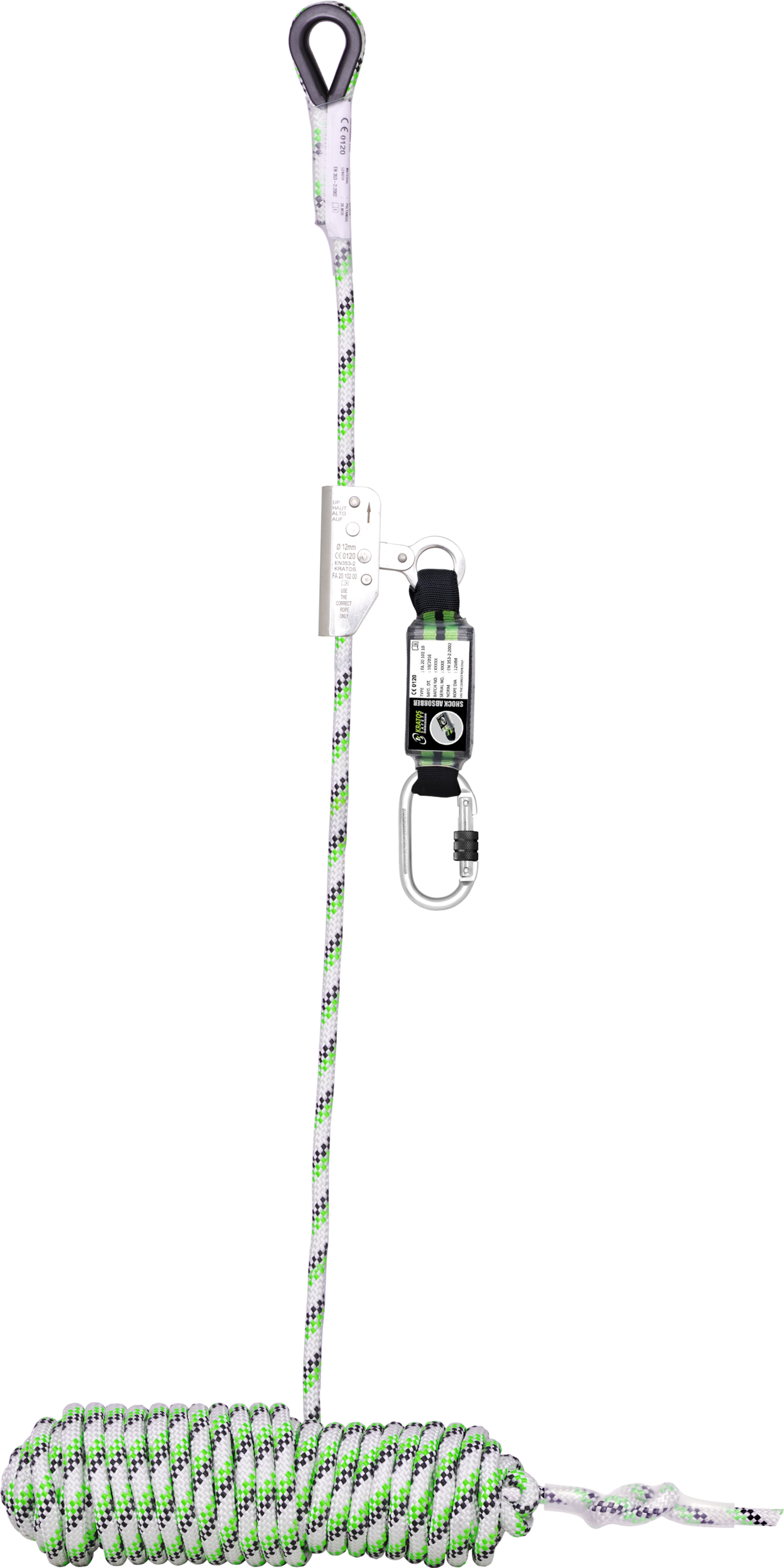 Guided-Type Fall Arrester on kernmantle rope 10 m, with energy absorber